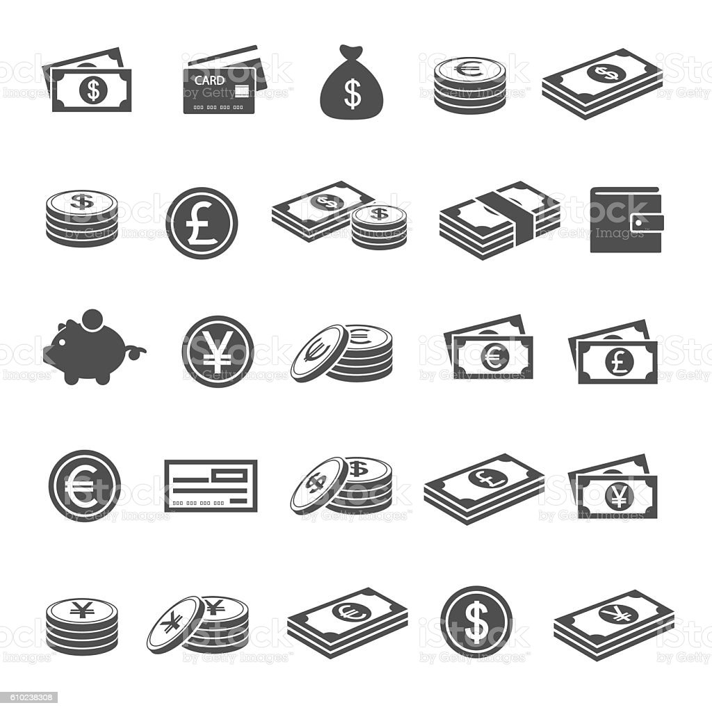 Currency icons vector art illustration