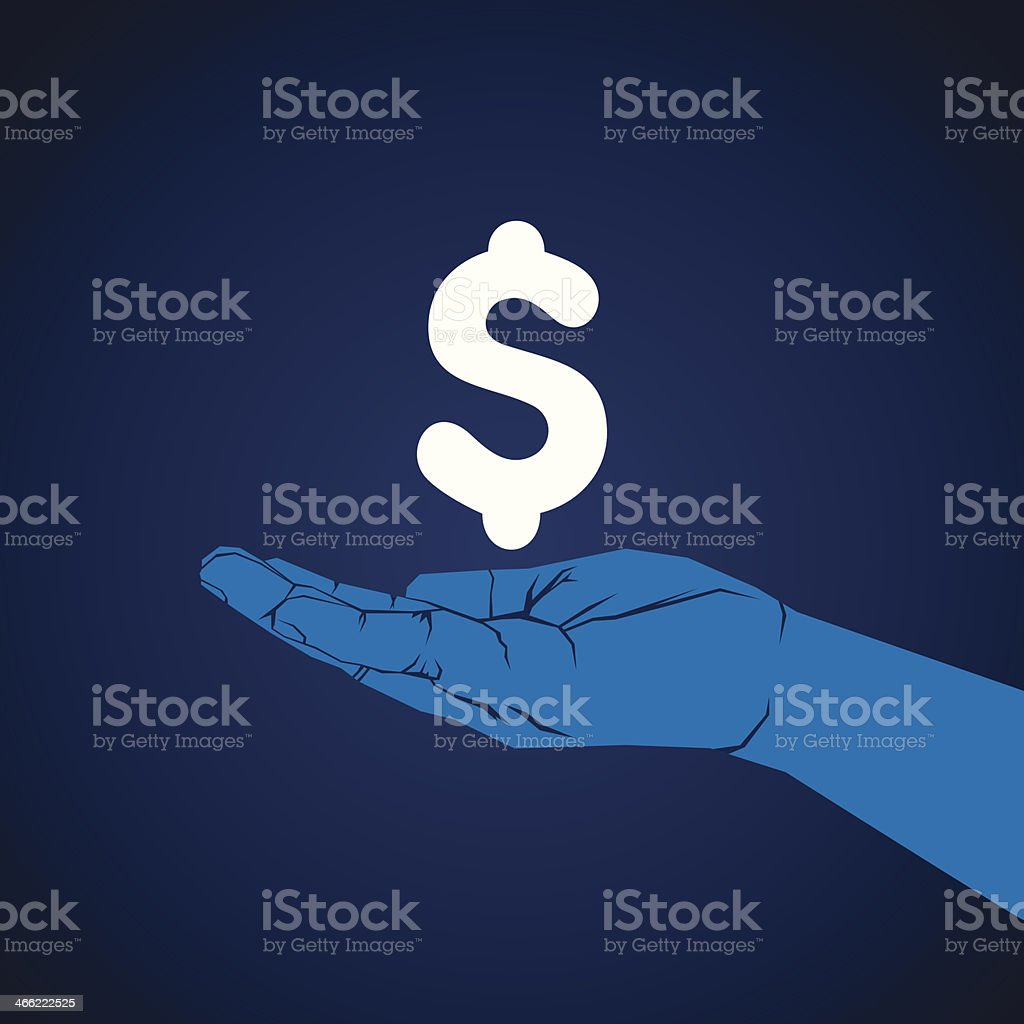 currency in hand royalty-free stock vector art