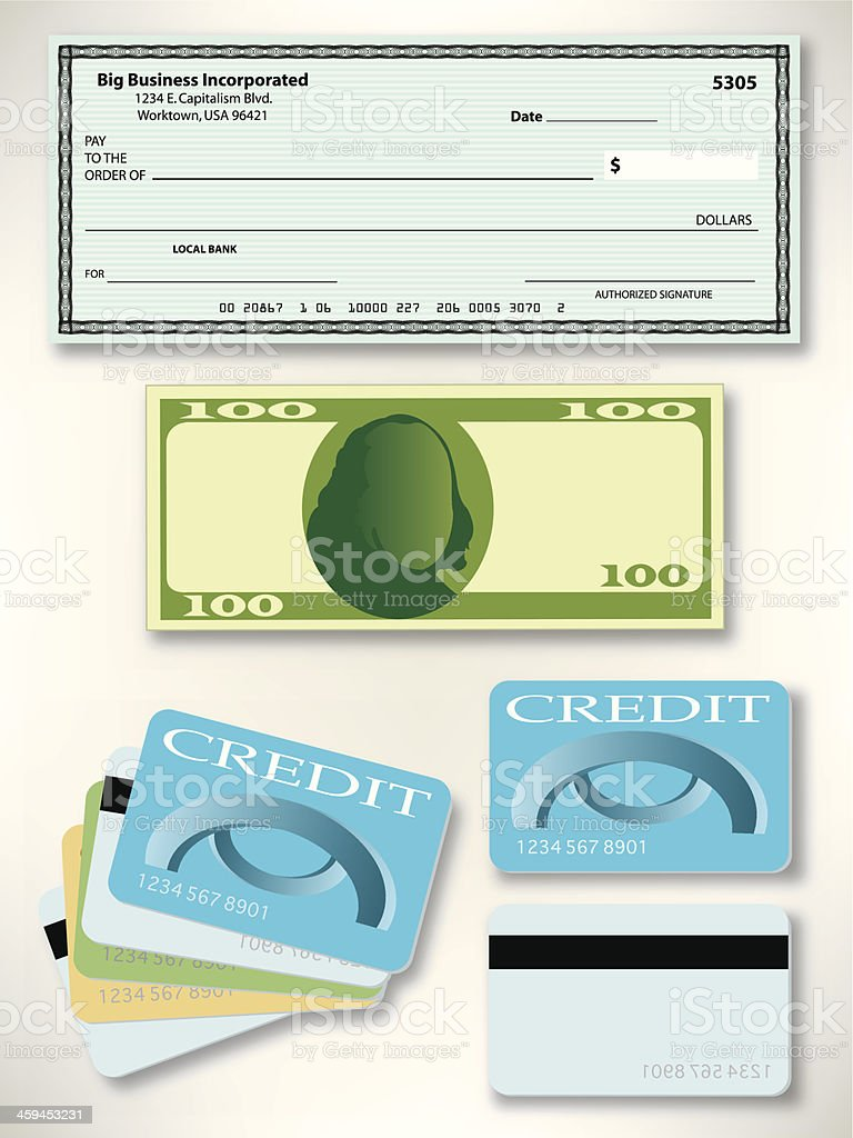 US Currency - Pay Check, Dollar Bill, Credit Card vector art illustration