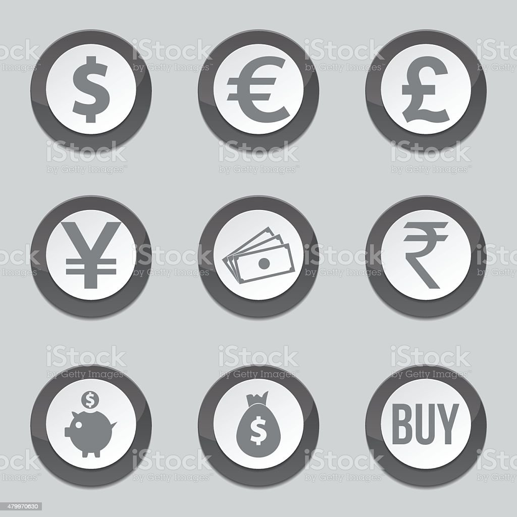 Currency Sign Black Vector Button Icon Design Set vector art illustration