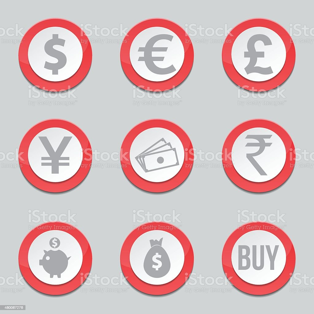 Currency Sign Red Vector Button Icon Design Set vector art illustration