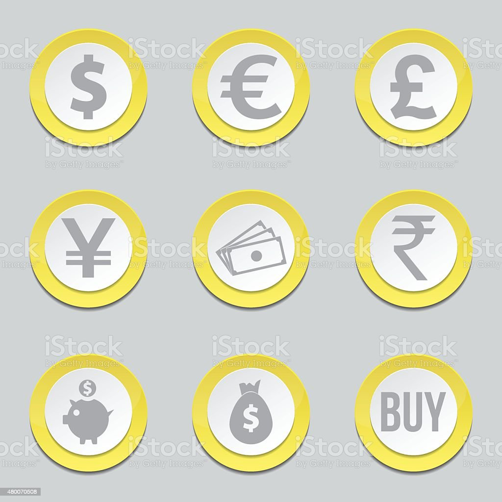 Currency Sign Yellow Vector Button Icon Design Set vector art illustration