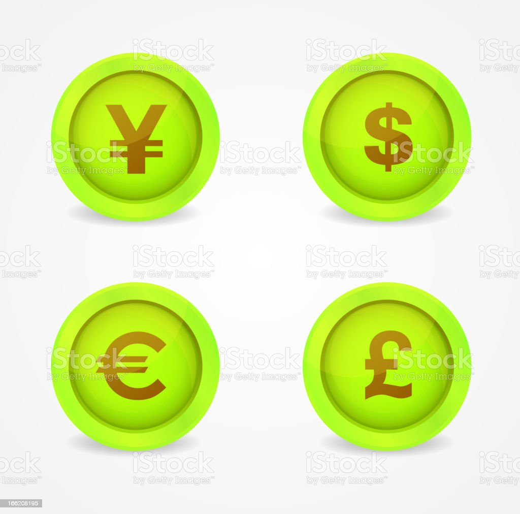 Currency signs on glossy icons royalty-free stock vector art