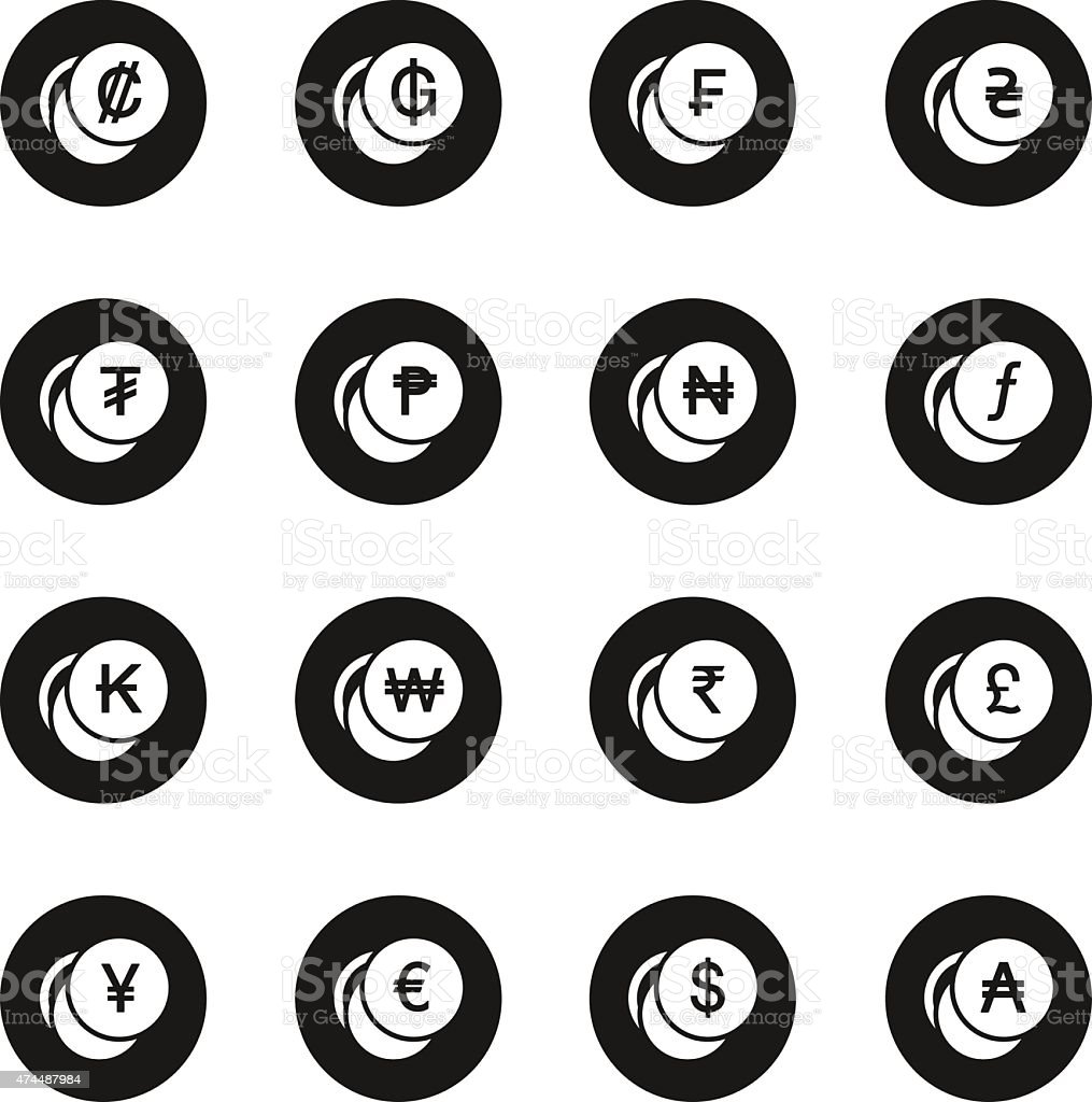 Currency Symbol Icons Set 1 - Black Circle Series vector art illustration