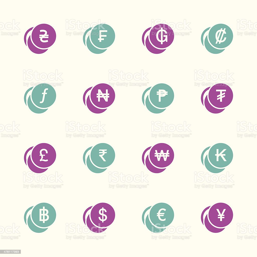 Currency Symbol Icons Set 1 - Color Series | EPS10 royalty-free stock vector art