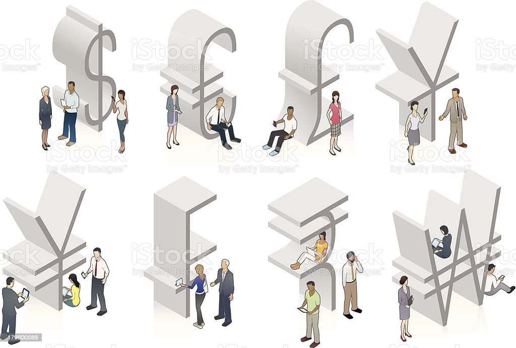 Currency symbol illustrations with people vector art illustration