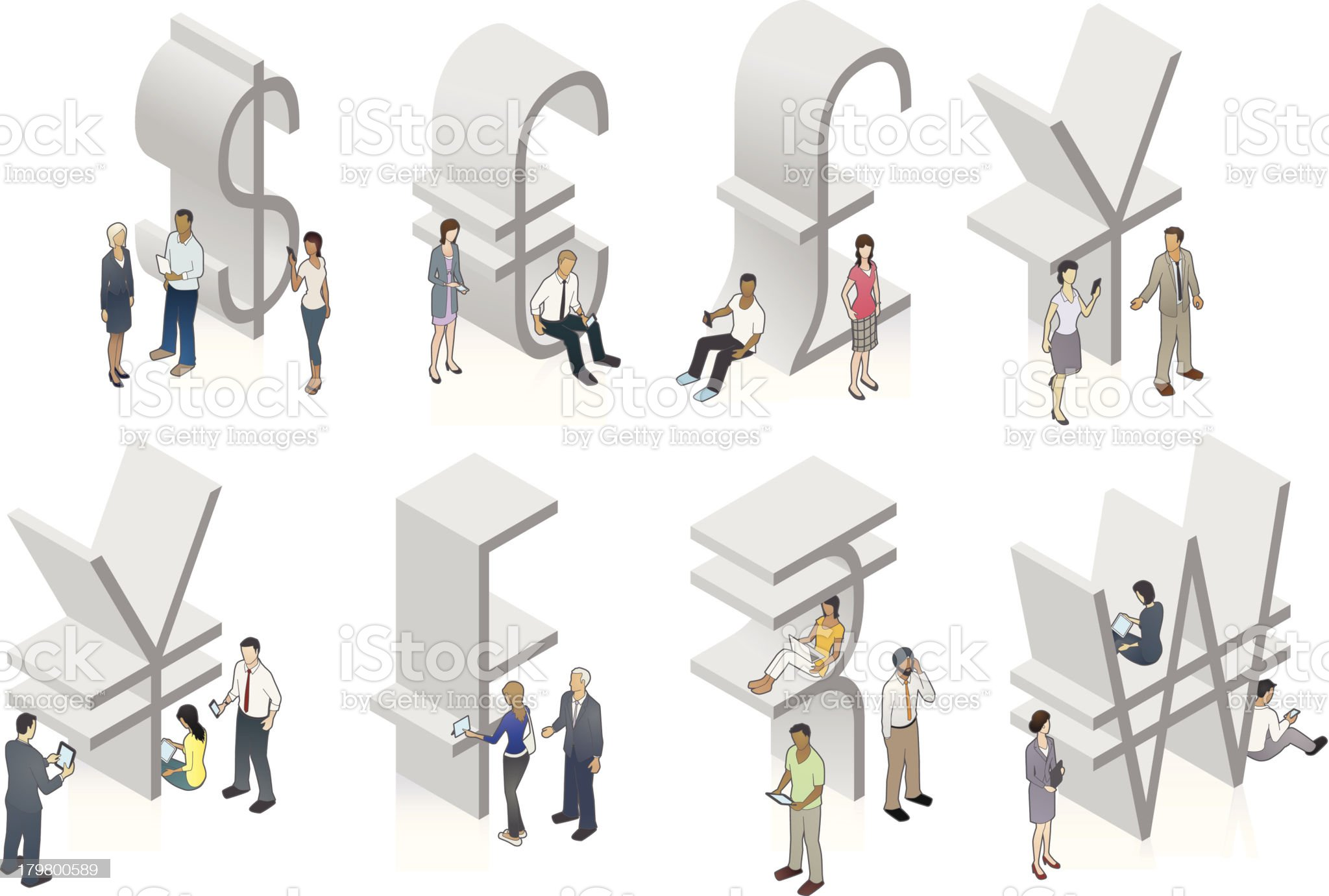 Currency symbol illustrations with people royalty-free stock vector art