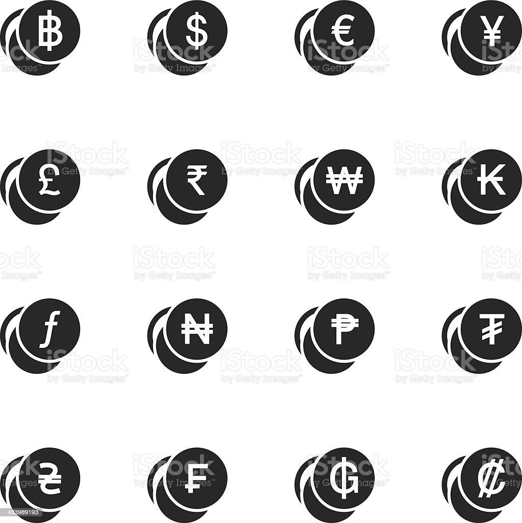 Currency Symbol Silhouette Icons | Set 1 vector art illustration