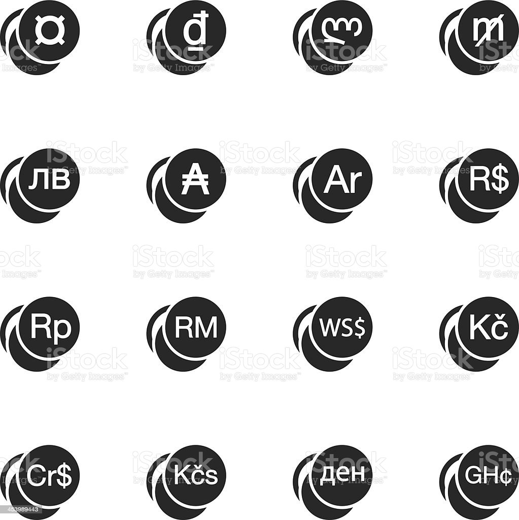 Currency Symbol Silhouette Icons | Set 2 royalty-free stock vector art
