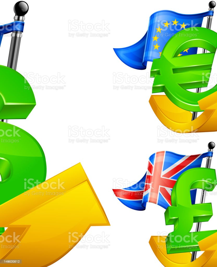 currency symbols on arrow royalty-free stock vector art