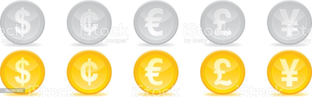 Currency symbols vector art illustration
