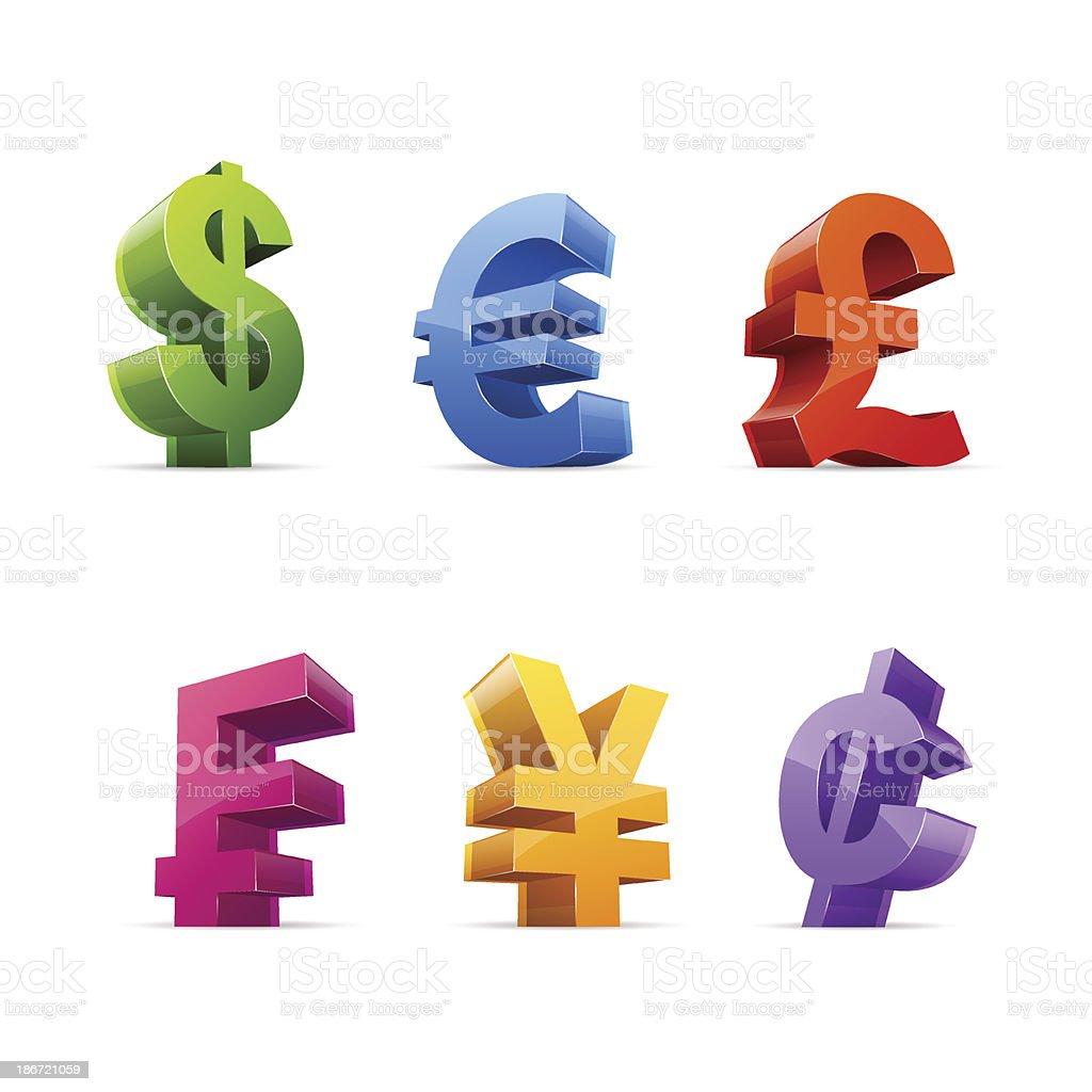 Currency symbols vector art illustration