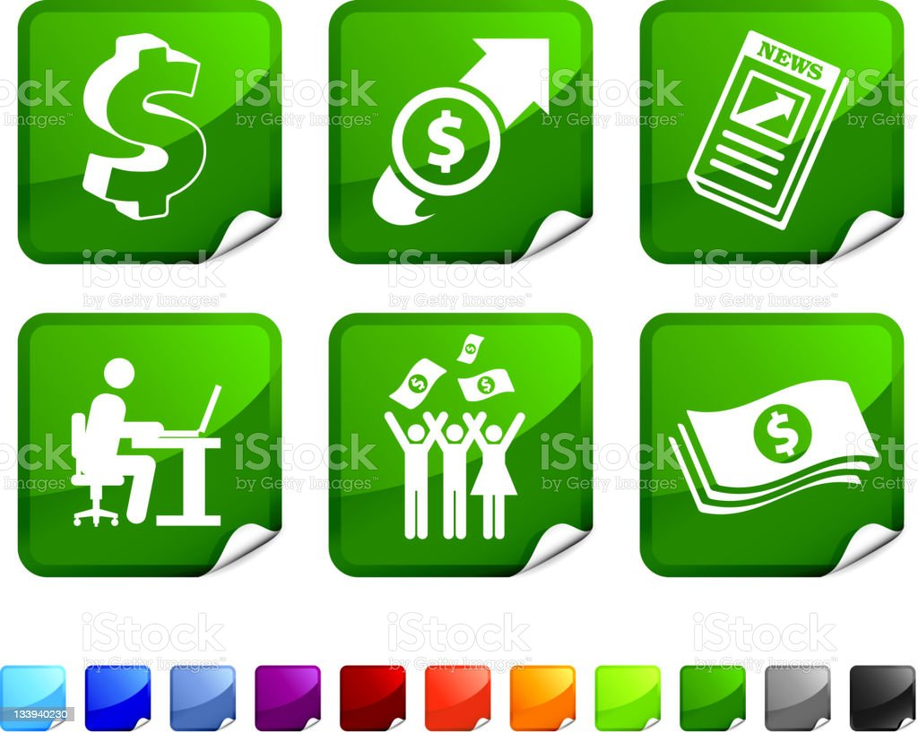 currency trading profits royalty free vector icon set stickers royalty-free stock vector art