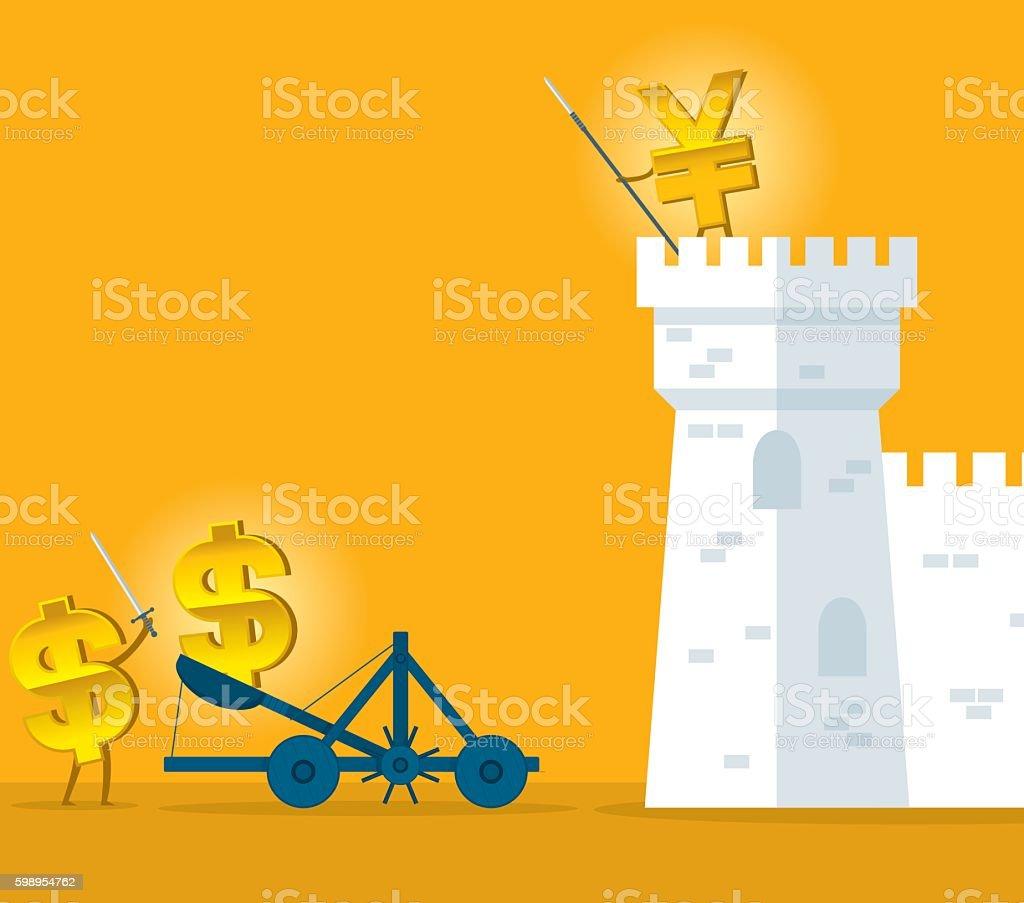 Currency War vector art illustration