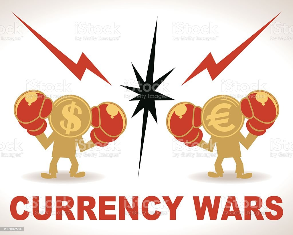 Currency Wars, Battle, Dollar and Euro fighting with boxing gloves vector art illustration