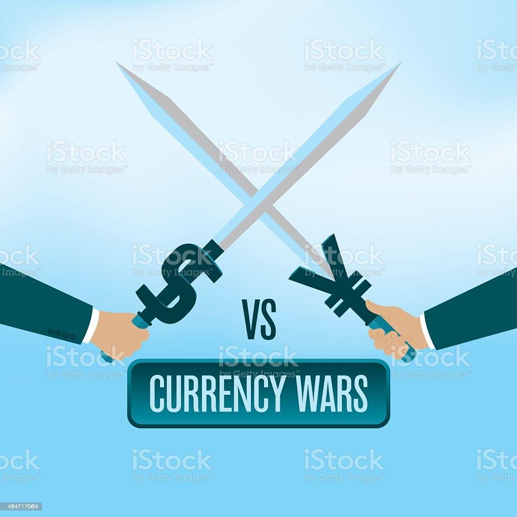 Currency wars vector art illustration