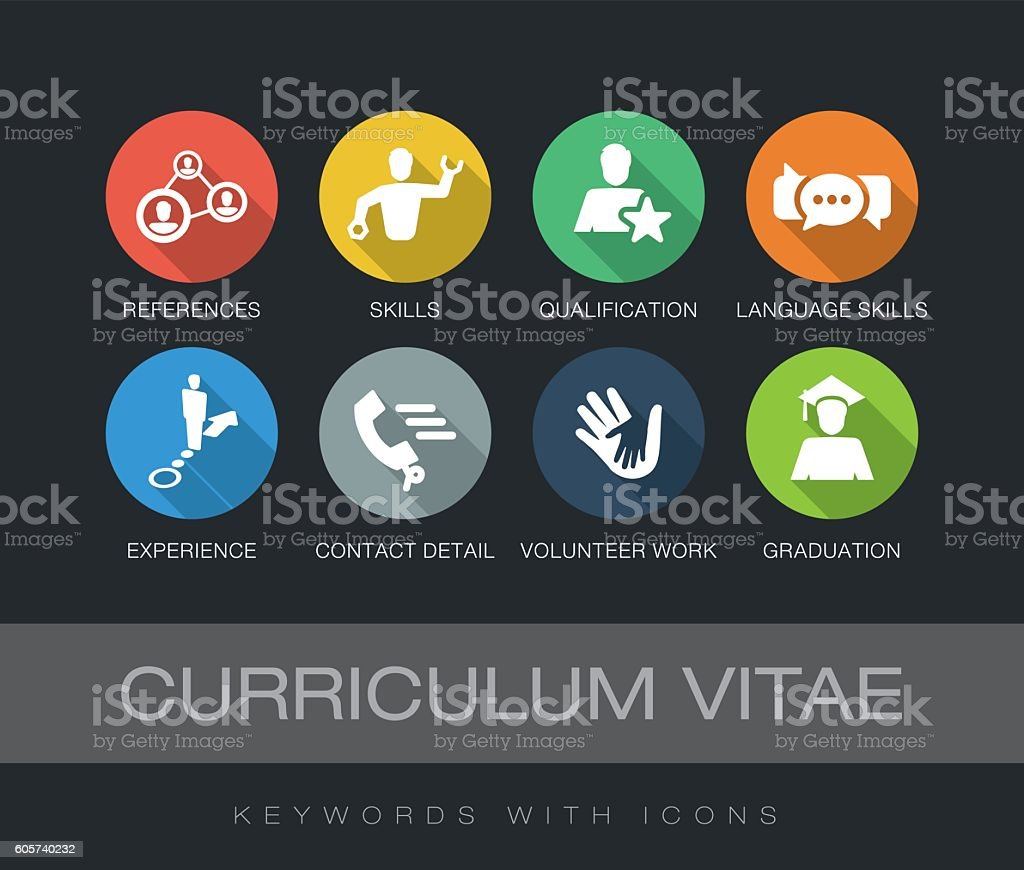 Curriculum Vitae keywords with icons vector art illustration