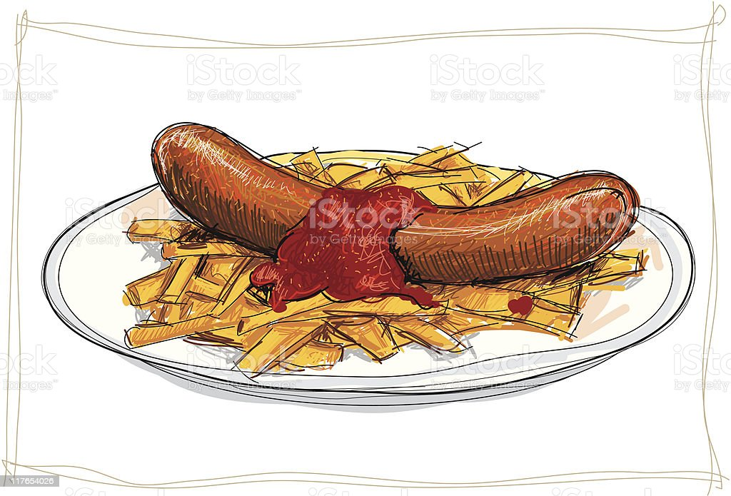 Currywurst royalty-free stock vector art