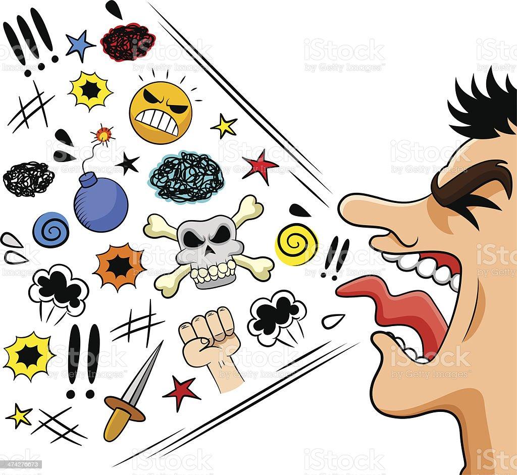 cursing man vector art illustration