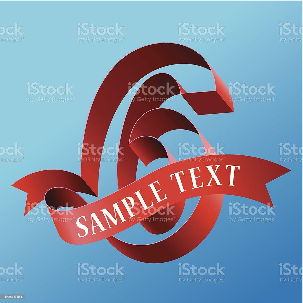 Cursive Ribbon Bold Number 06 royalty-free stock vector art