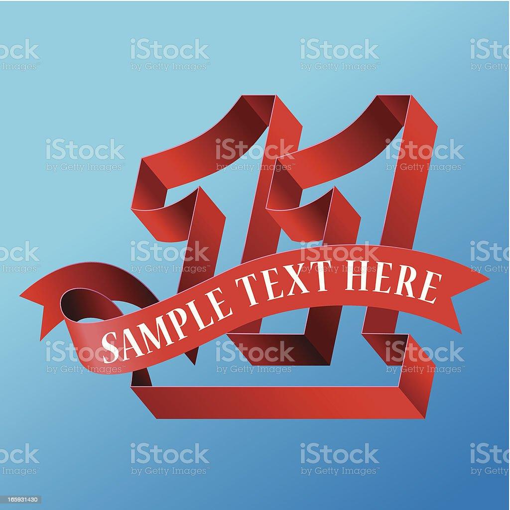 Cursive Ribbon Bold Number 11 royalty-free stock vector art