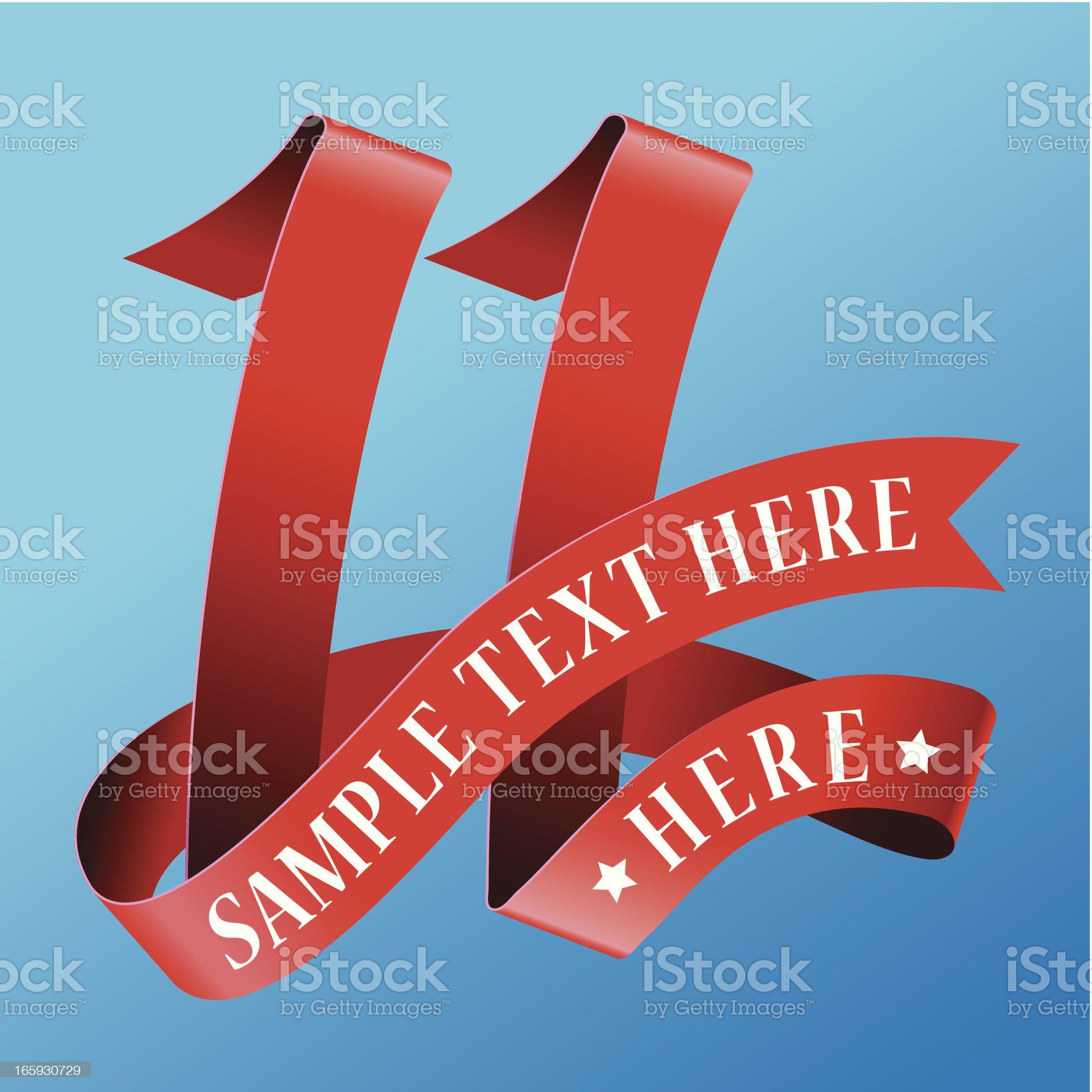 Cursive Ribbon Number 11 royalty-free stock vector art