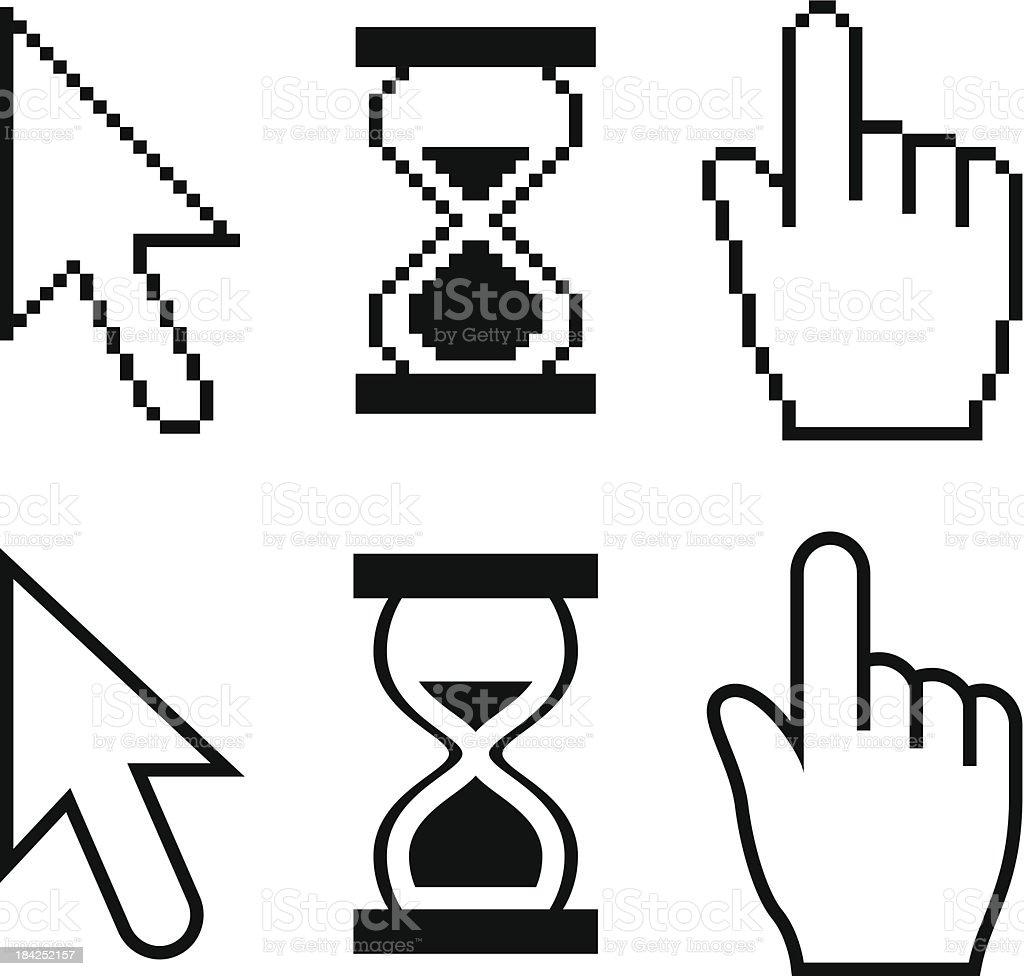 Cursor Set - arrow, hand, hourglass vector art illustration