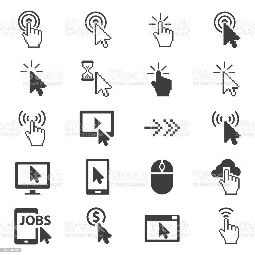 Cursors icon set vector art illustration