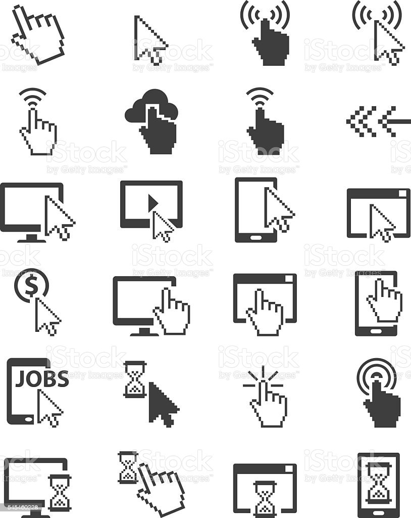Cursors icon set vector art illustration