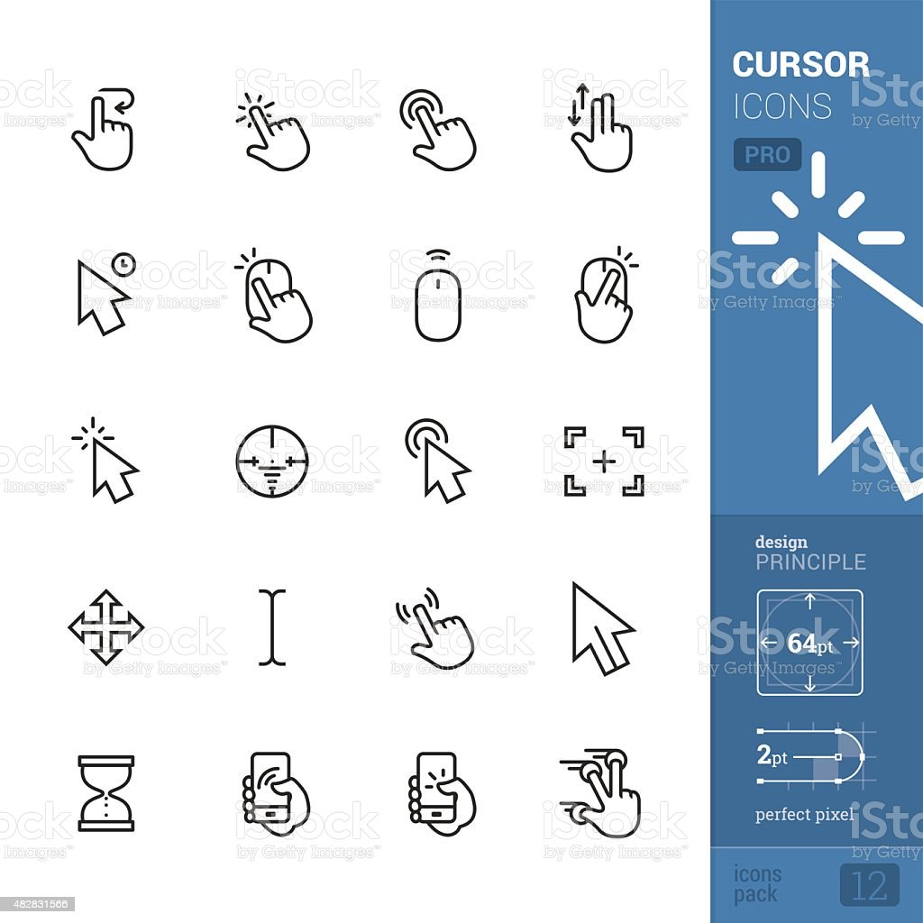 Cursors related vector icons - PRO pack vector art illustration