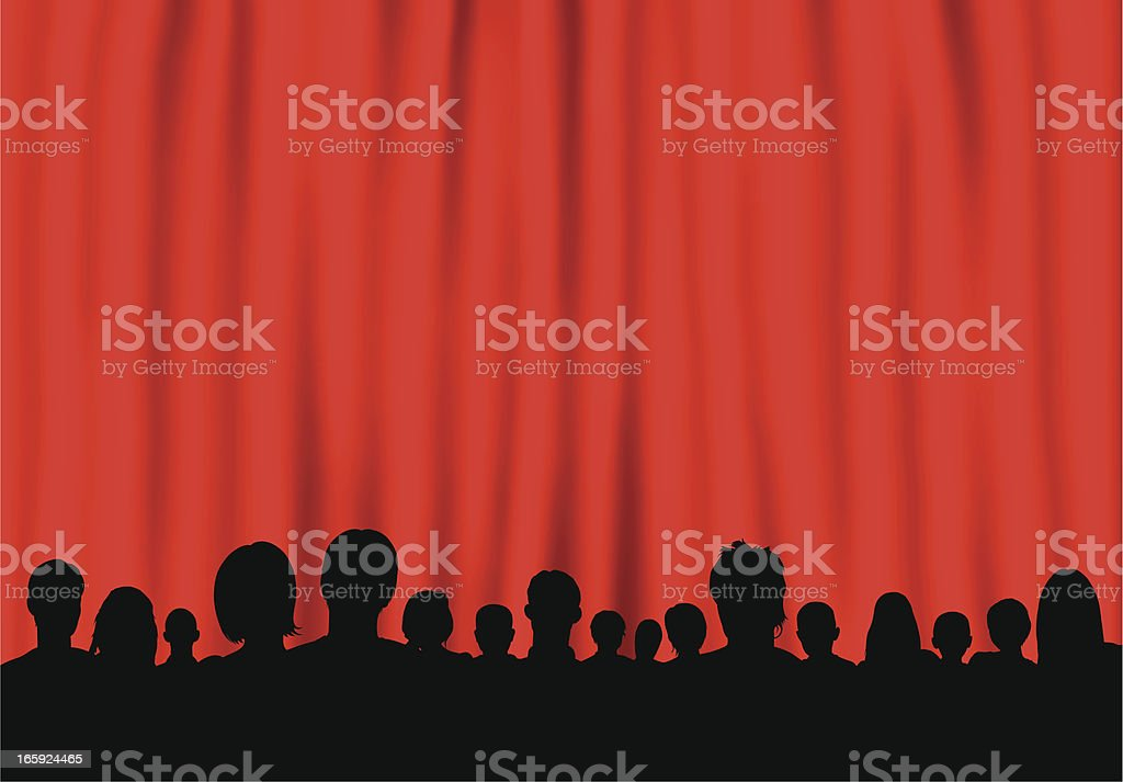 Curtain (People Are Complete, Clipping Path Hides the Legs) royalty-free stock vector art