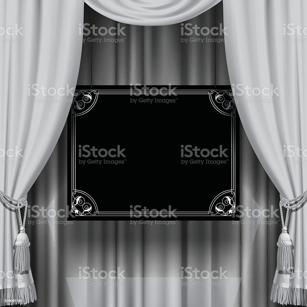 Curtain with a sign vector art illustration