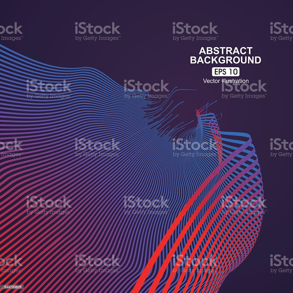 Curve composition have a sense of perspective background. vector art illustration