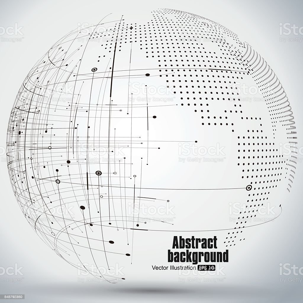 curve constructed the sphere wireframe, technological sense abstract illustration. vector art illustration