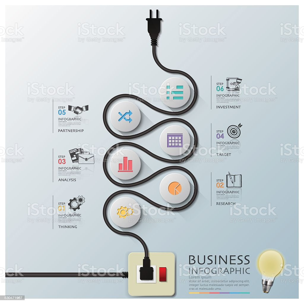 Curve Electric Wire Line Diagram Business Infographic vector art illustration
