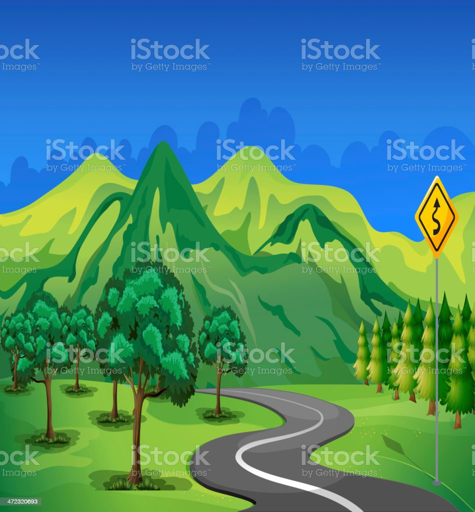 curve road going to the mountain royalty-free stock vector art