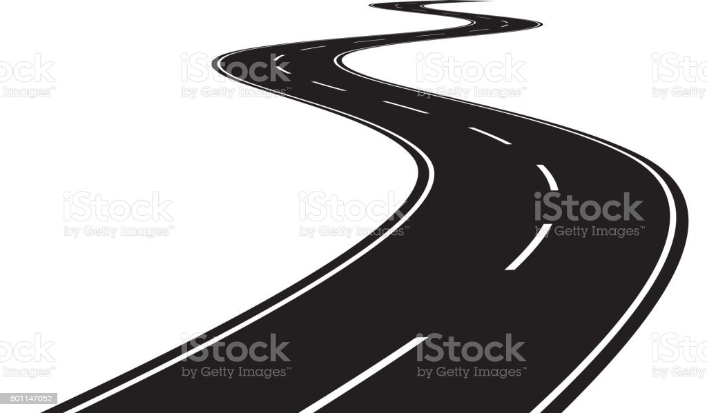 Curve road vector art illustration