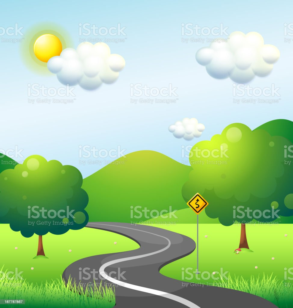 Curve road with a sign along the mountain royalty-free stock vector art