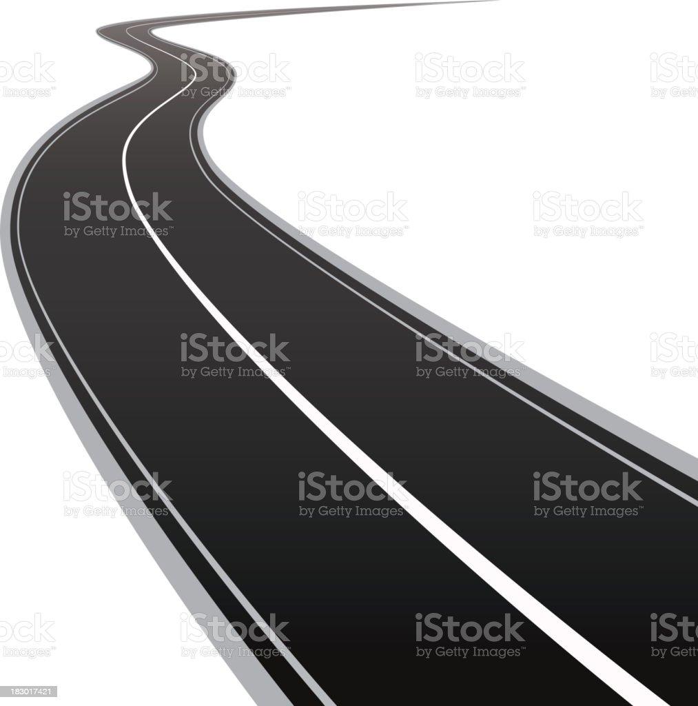 Curved asphalt road vector art illustration
