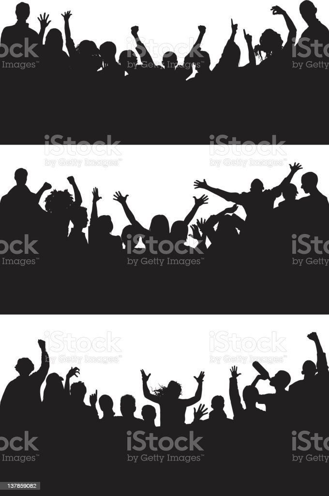 Curved Happy Crowds vector art illustration