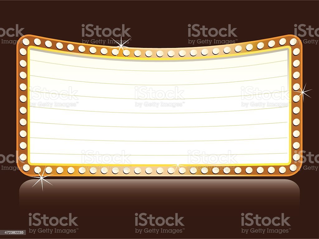 Curved marquee with lights vector art illustration