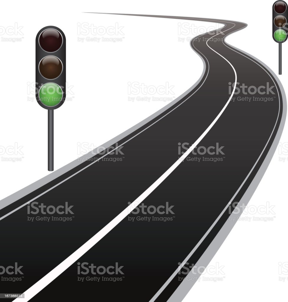 Curved road and traffic lights royalty-free stock vector art