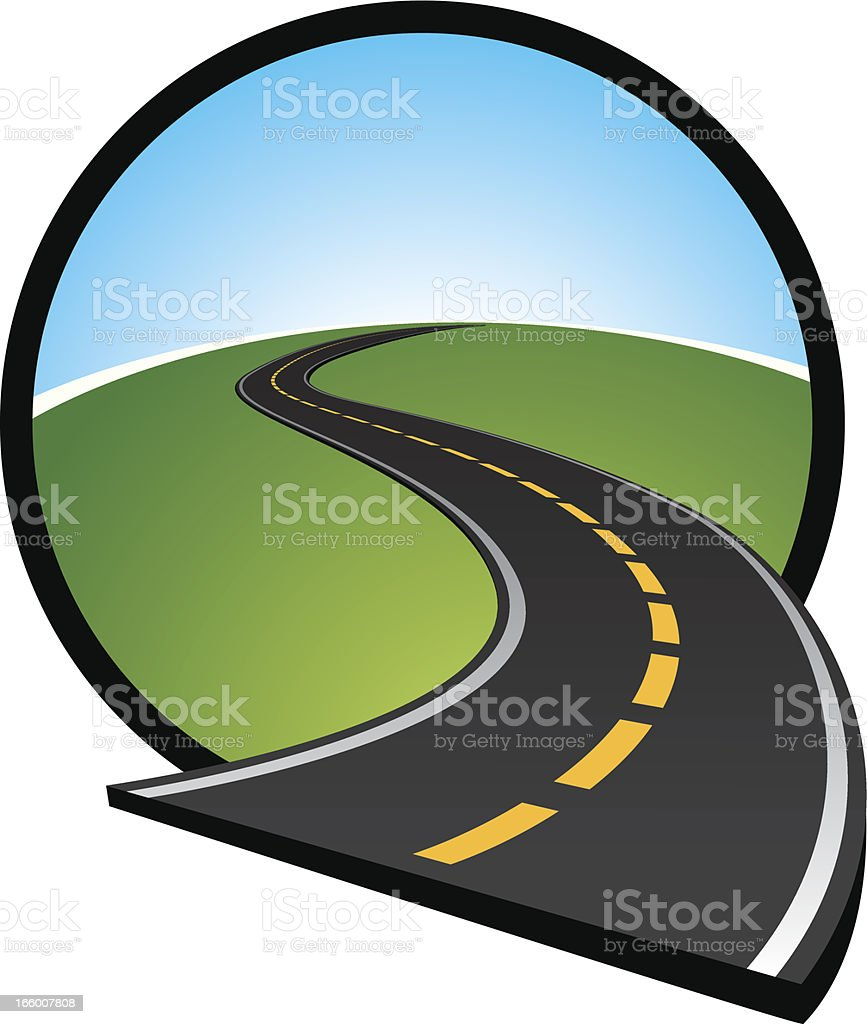 curved road icon vector art illustration
