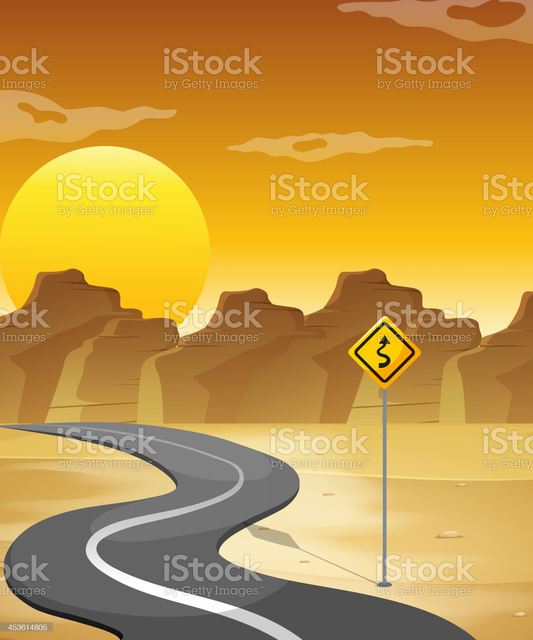 curved road in the desert royalty-free stock vector art