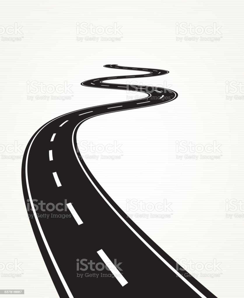 Curved road vector art illustration