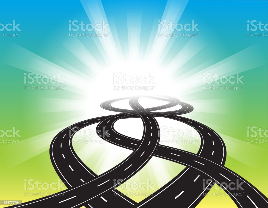 Curved roads vector art illustration