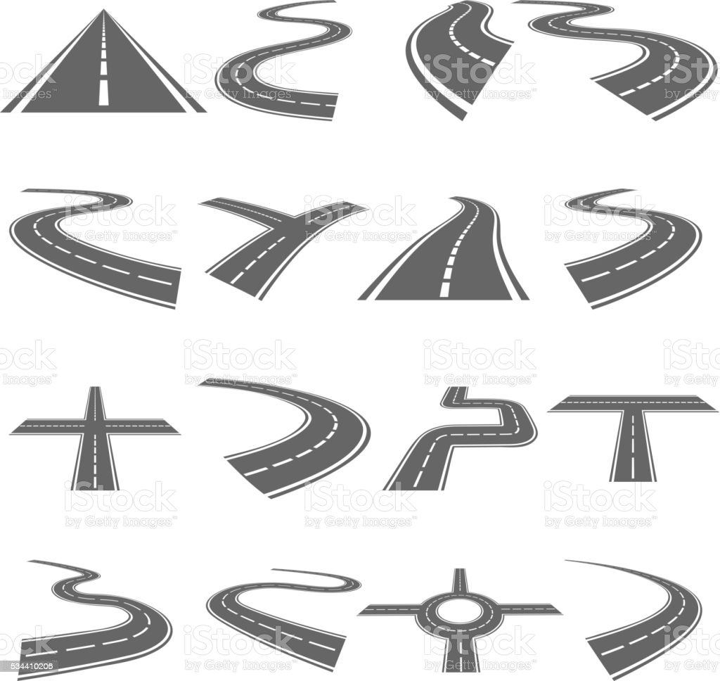 Curved roads vector set vector art illustration