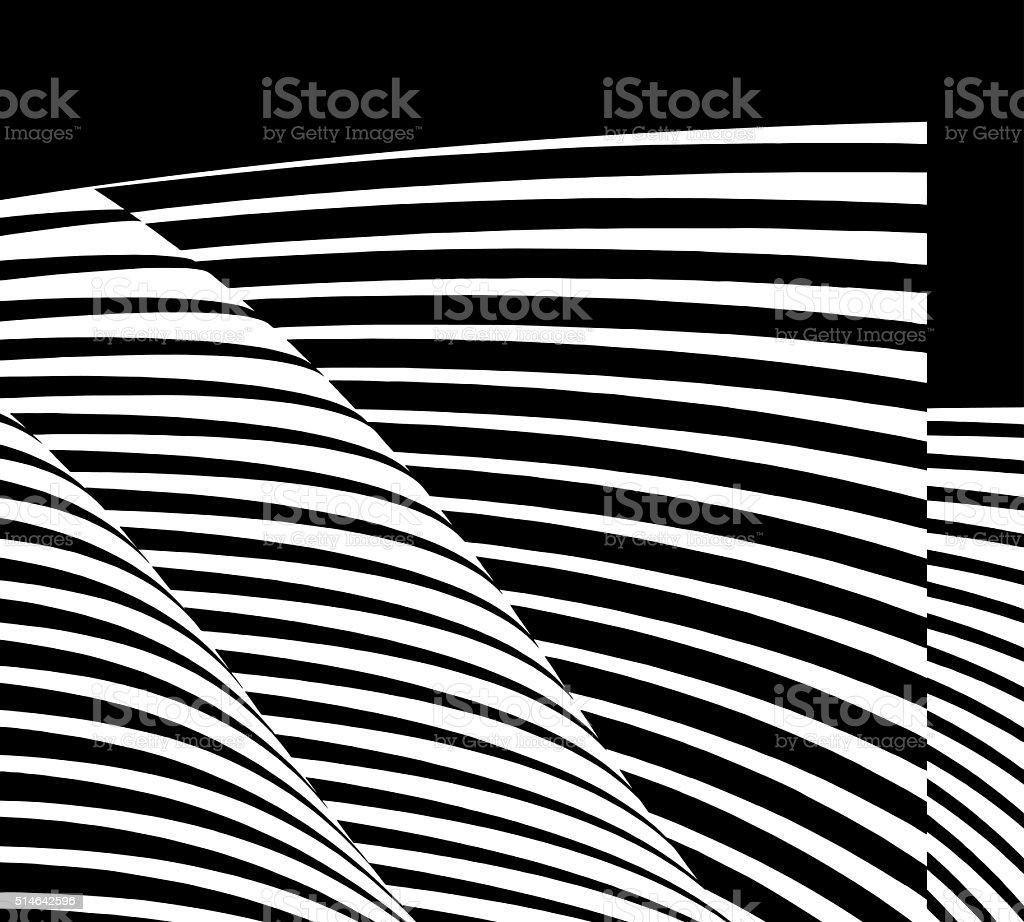 Curved, striped halftone pattern design element vector art illustration