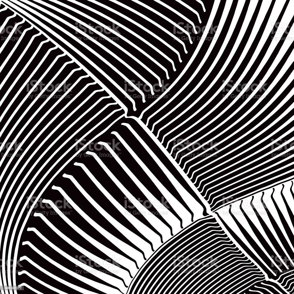 Curved Striped Halftone Pattern with Gradient. vector art illustration