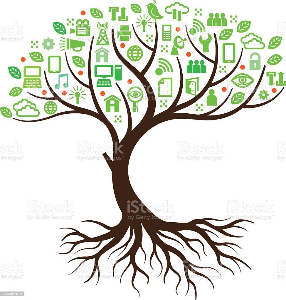 Curved technology tree illustration vector art illustration